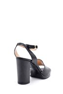 Derimod Kadın Siyah Deri Kalın Topuklu Ayakkabı