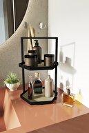 LİLLA HOME İki Katlı Altıgen Krem Deri Makyaj Takı Mutfak Banyo Düzenleyici Organizer 40 cm