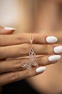 İzla Design Kadın Kelebek Model Baget Taşlı Rose Kaplama Gümüş İtalyan Kolye