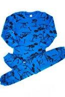 esbabe Unisex Lacivert Dinazor Baskılı Alt Üst Çocuk Pijama Takımı