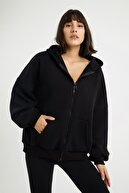 LAMODEMAPASS Kadın Siyah Oversize Sweatshirt