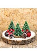 Monfoni Yılbaşı Mumu Dekor Üçlü Çam Ağacı Set Mum Dekoratif Tasarım