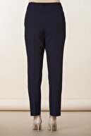 Rmg Kadın Lacivert Kumaş Yüksek Bel Düz Paça Pantolon Rg1294