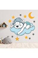 Tasarımo Bulut Üzerinde Uyuyan Ayı Dekoratif Çocuk Odası Sticker