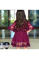 Riccotarz Mor Güpürlü Prenses Kız Çocuk Elbise