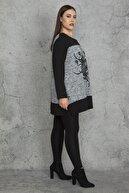 Şans Kadın Siyah Sim Ve Taş Detaylı Flok Baskılı Tunik 65N20290