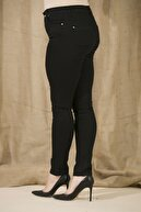 Rmg Kadın Siyah Kanvas Yüksek Bel Dar Paça Pantolon  Rg1239pb