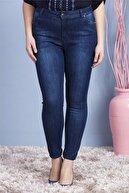 Günay Kadın Lacivert Kot Yüksek Bel Dar Paça Pantolon Rg1239yk