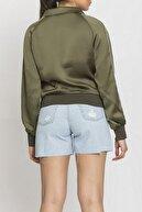 NICE ISTANBUL Kadın  Haki Fermuarlı Kolları Taş Detay Sweatshirt