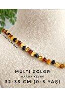 İpek Kehribar Unisex Bebek Kolyesi Multicolor 4 Renk Barok Sertifikalı Baltık Kehribar Kolye Diş