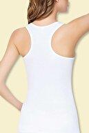 Tutku Kadın Beyaz 2'li Paket Likralı Pamuk Sporcu Atlet 0145