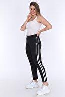 Big Love Kadın Siyah Büyük Beden Şeritli Dalgıç Kumaş Tayt