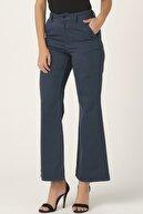 its basic Kadın Indigo Renk Yüksek Bel Flare Kalıp Geniş Paça Jean