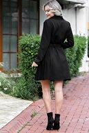Chiccy Kadın Siyah Düğme Detaylı Kemerli Ceket Elbise M10160000EL96043
