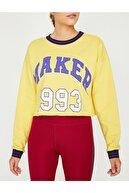 Koton Kadın  Sarı Yazılı Baskılı Sweatshirt 9KAK12839YK
