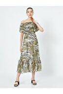 Koton Kadın Gri Desenli Elbise