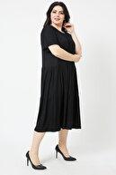 LİKRA Kadın Siyah Büyük Beden Katlı Büzgülü Lı Viskon Elbise