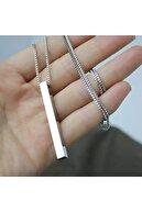 MedBlack Jewelry Gümüş Renk Unisex Bar Örme Zincir Kolye