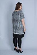Şans Kadın Siyah Düşük Kol Etek Kısmı Desenli Tunik Elbise 65N23255
