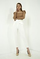Vis a Vis Kadın Ekru Kuşaklı Yüksek Bel Pantolon
