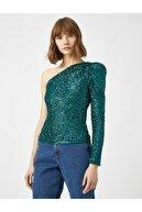 Koton Kadın Yeşil Vatkali Uzun Kollu Tek Omuz Payetli Bluz