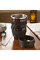Deco Elit Objektif Görünümlü Lens Kupa Çelik Kahve Çay Termos Mug Bardak