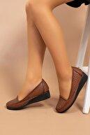 MelikaWalker Kadın Taba Lazer Desenli Genç Anne Comfort Hafif Poli Taban Ayakkabı