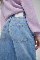 Pull & Bear Kadın Mavi Robalı Yüksek Bel Straight Fit Jean 04681309