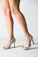 ALTINAYAK Kadın Lazerli Taşlı Aynalı Ökçe Açık Zenne Abiye Ayakkabı