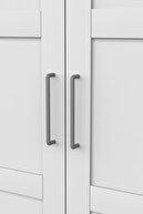 DEKOREX Mnt-317 Beyaz 3 Kapaklı 2 Çekmeceli Gardırop