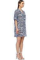 Network Kadın Mini Boy Beyaz Lacivert Elbise 1073866