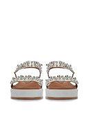 Divarese Hakiki Deri Taşlı Gümüş Sandalet