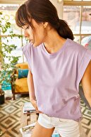 Olalook Kadın Mor Koltuk Altı Parçalı Yarasa T-shirt TSH-19000330
