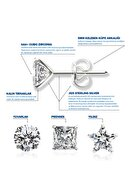 Jewelry For Light 3'lü Set 5 mm Tektaş Yuvarlak Yıldız Kesim Kübik Zirkon Pimli Gümüş Küpe