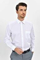 Hatemoğlu Desenli Klasik Beyaz Gömlek 19D190000156