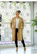 Pika Kadın Tunik Bel Lastik Detaylı Kare Desen Camel Beyaz Tnk