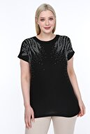 diaves Kadın Siyah Mineral Taş Detay Tasarım Bluz