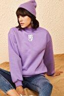 Bianco Lucci Kadın Lila Balıkçı Yaka BS09 Baskılı Sweatshirt 10161010