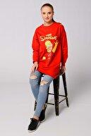 Nefise Kadın Kırmızı Karikatür Baskılı Sweatshirt