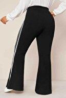 Big Love Kadın Siyah Büyük Beden Ispanyol Paça Şeritli Dalgıç Kumaş Pantolon