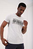 Tommy Life Gri Melanj Erkek Yazı Detaylı Barkod Baskılı Standart Kalıp O Yaka T-shirt - 87903