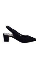 Bambi Siyah Süet Kadın Klasik Topuklu Ayakkabı K01503721072