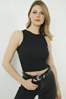 Vis a Vis Kadın Siyah Kaşkorse Bel Üstü Kolsuz  Bluz STN904KBL166