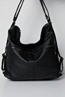 Tonny Black Kadın Siyah Çok Gözlü Yıkama Kumaştan Kol Ve Sırt Kullanışlı Çanta