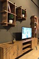 TE-HOME Ceviz Kare Yat Tv Ünitesi 3050