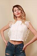 Reyon Kadın Krem Dantelli Sırt Fermuar Bluz  20230017D2D