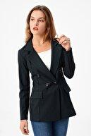 Jument Kadın Yeşil Ekose Desenli Düğmeli Uzun Blazer Ceket