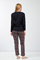 Moda Clubu Kadın Kırmızı Ekose Pijama Takımı Uzun Kol Mc2020-080