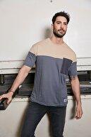 Sateen Men Erkek Bej-Füme Paraşüt Cep T-Shirt