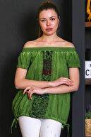 Chiccy Kadın Yeşil Carmen Yaka, Blok Ve Yanları İp Bağlama Detaylı, Yıkamalı Bluz M10010200BL95529